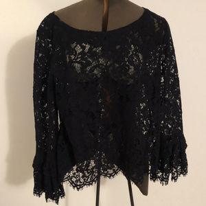 Club Monaco black lace short blouse